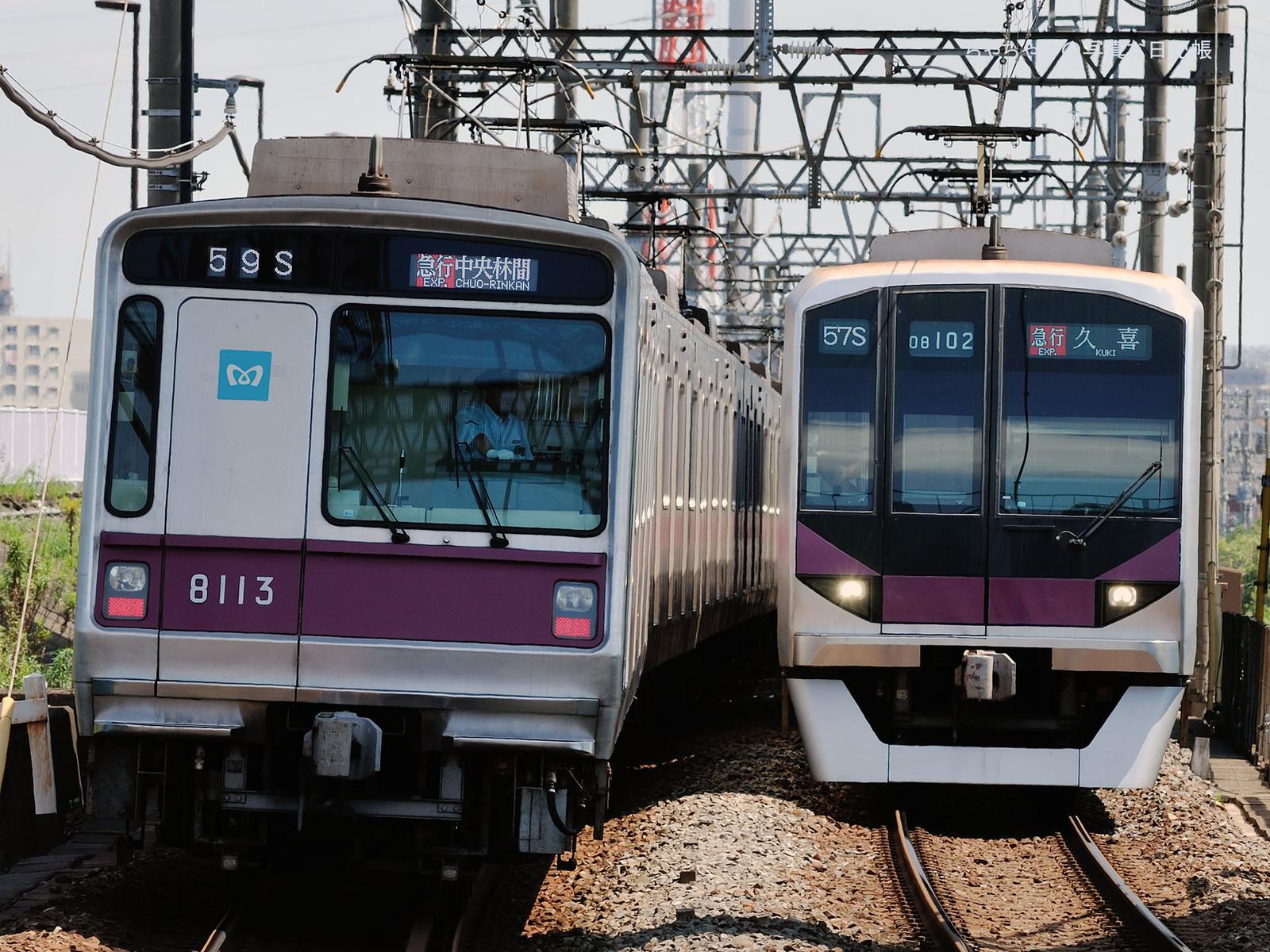 東京メトロ8000系 59ゥ 13編成 , 08系 57ゥ 02編成